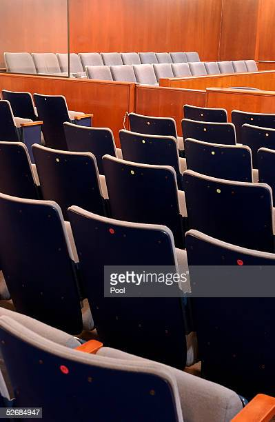 The 20 juror seats as seen from the audience in the courtroom at the Santa Barbara County Courthouse where the child molestation trial of pop star...