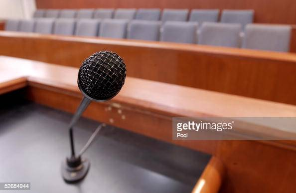 The 20 juror seats as seen from the witness stand at the Santa Barbara County Courthouse where the child molestation trial of US pop star Michael...