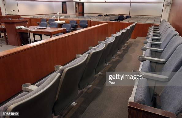 The 20 juror seats in the courtroom are seen at the Santa Barbara County Courthouse where the child molestation trial of pop star Michael Jackson is...