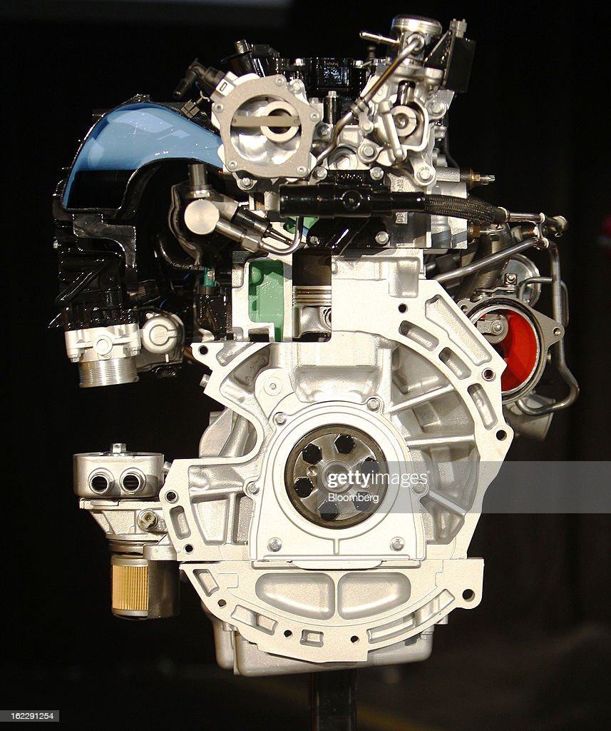 The 2.0 liter ecoboost engine is displayed during an event at the Ford Motor Co. Cleveland Engine Plant in Brook Park, Ohio, U.S., on Thursday, Feb. 21, 2013. Ford Motor Co. said it will invest $200 million to make four-cylinder engines at the plant starting in late 2014 as the second-largest U.S. automaker equips an increasing number of models with smaller, more fuel-efficient powertrains. Photographer: David Maxwell/Bloomberg via Getty Images