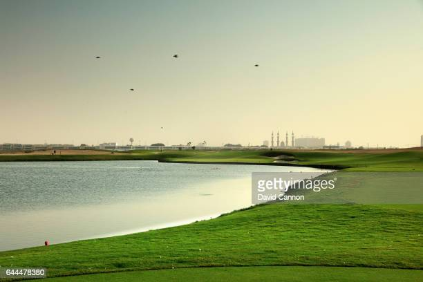 The 200 yards par 3 second hole at the Al Zoorah Golf Club on January 29 2017 in Ajman United Arab Emirates