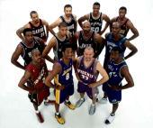 The 2001 NBA West AllStar Team pose for a team portrait front row Gary Payton Kobe Bryant Jason Kidd Michael Finley Middle row Chris Webber Tim...