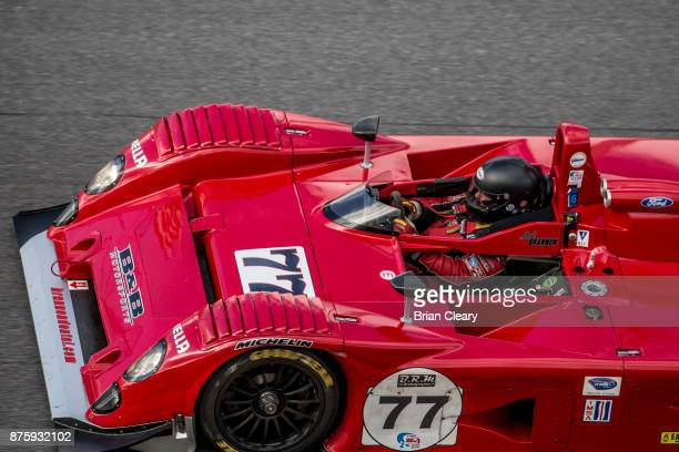 The 2001 Riley and Scott Mark IIIc of Mark Brannon and Nigel Greensall races on the track at the Classic 24 at Daytona Historic Sportscar Race at...