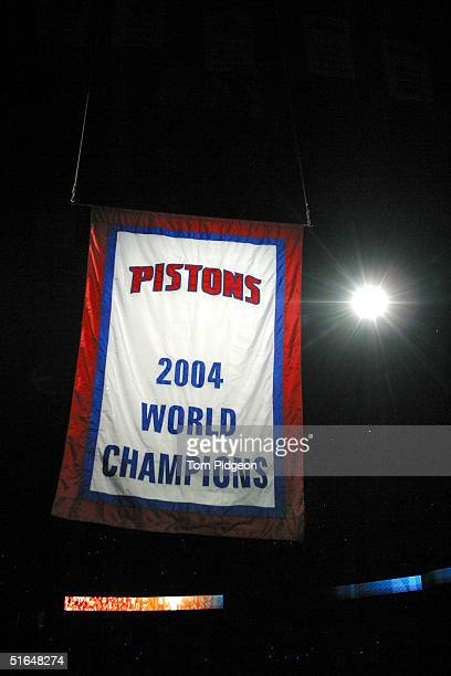 The 2004 Championship Banner is raised to the rafters as the NBA champions Detroit Pistons hold a pregame ceremony before their game against the...