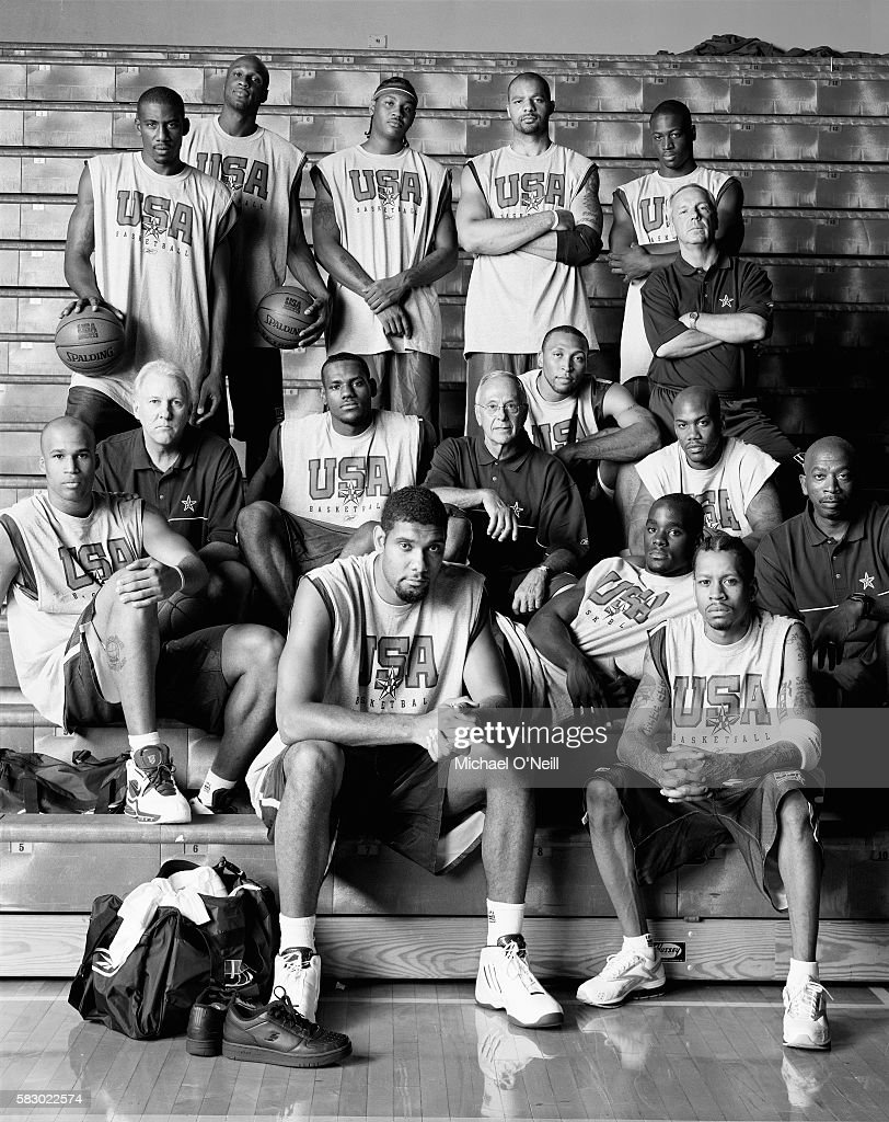 The 2004 USA Basketball Men's Senior National Team: Back row (l-r): Amare Stoudemire, Lamar Odom, Carmelo Anthony, Carlos Boozer, Dwyane Wade, assistant coach Roy Williams; Middle row: Richard Jefferson, assistant coach Gregg Popovich, LeBron James, head coach Larry Brown, Shawn Marion, Emeka Okafor (reclining), Stephon Marbury, assistant coach Oliver Purnell; Front row: Tim Duncan and Allen Iverson.