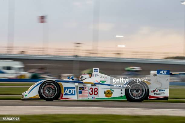 The 2005 Audi R83600cc of Andy Wallace and Doug Smith races on the track during the Classic 24 at Daytona Historic Sportscar Race at Daytona...