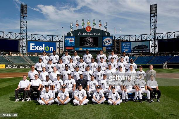 The 2005 Chicago White Sox pose for a team photo at US Cellular Field on August 5 2005 in Chicago Illinois FIRST ROW Batboys SECOND ROW Assistant...