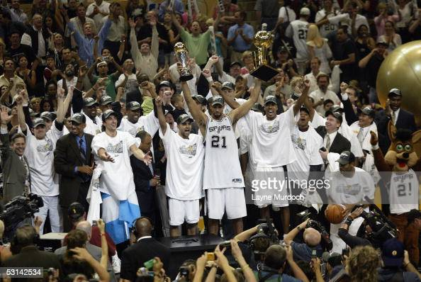 The 2005 NBA Champion San Antonio Spurs celebrate after winning Game seven of the 2005 NBA Finals 8174 against the detroit Pistons on June 23 2005 at...