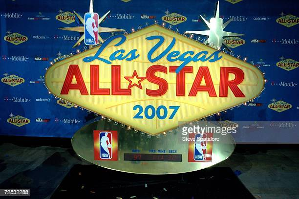 The 2007 NBA AllStar Game Logo with Countdown Clock begins AllStar Game Voting at the Fashion Show Mall on November 13 2006 in Las Vegas Nevada NOTE...