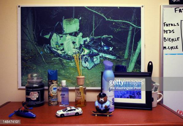 The 2008 car crash scene that killed Ryan Didone can be seen on the office wall of Ryan's father Montgomery County Police Captain Thomas Didone on...