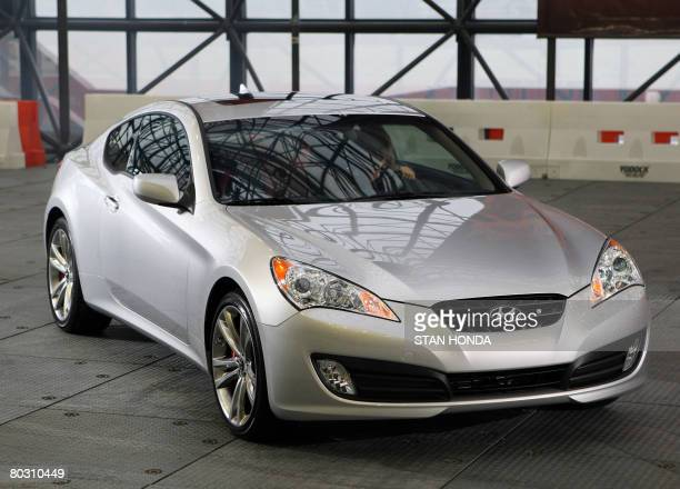 The 2009 Hyundai Genesis Coupe during a preview on March 19 2008 at the New York International Auto Show AFP PHOTO/Stan HONDA