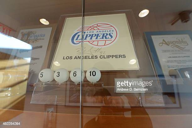 The 2009 Los Angeles Clippers lottery pick plaque is shown before practice at STAPLES Center on March 12 2014 in Los Angeles California NOTE TO USER...