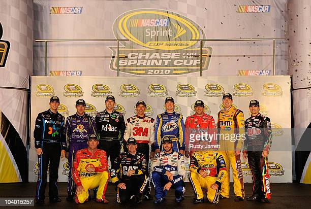 The 2010 NASCAR Sprint Cup Series Chase contenders Denny Hamlin driver of the FedEx Office Toyota Matt Kenseth driver of the Crown Royal Ford Carl...