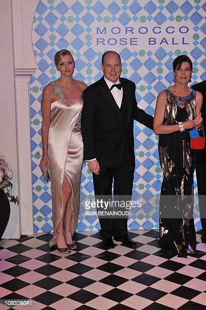 The 2010 Rose Ball 'Bal de la Rose Morocco' Charlene Wittstock Prince Albert II of Monaco Princess Caroline of Hanover in Monte Carlo Monaco on March...