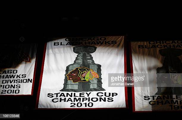 The 2010 Stanley Cup Championship banner is seen during a ceremony before the Chicago Blackhawks season home opening game against the Detroit Red...