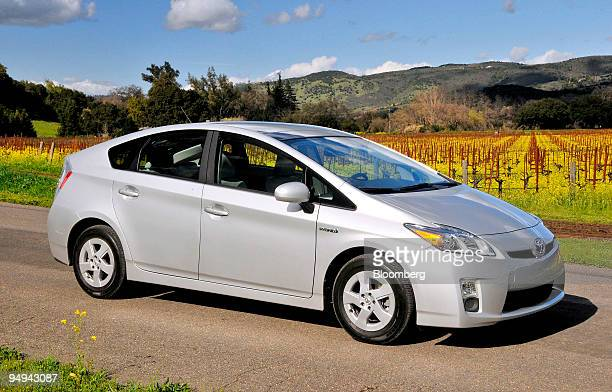 The 2010 Toyota Prius hybrid car is photographed next to a vineyard in Napa Valley California US on Thursday Feb 26 2009 Toyota Motor Corp is poised...