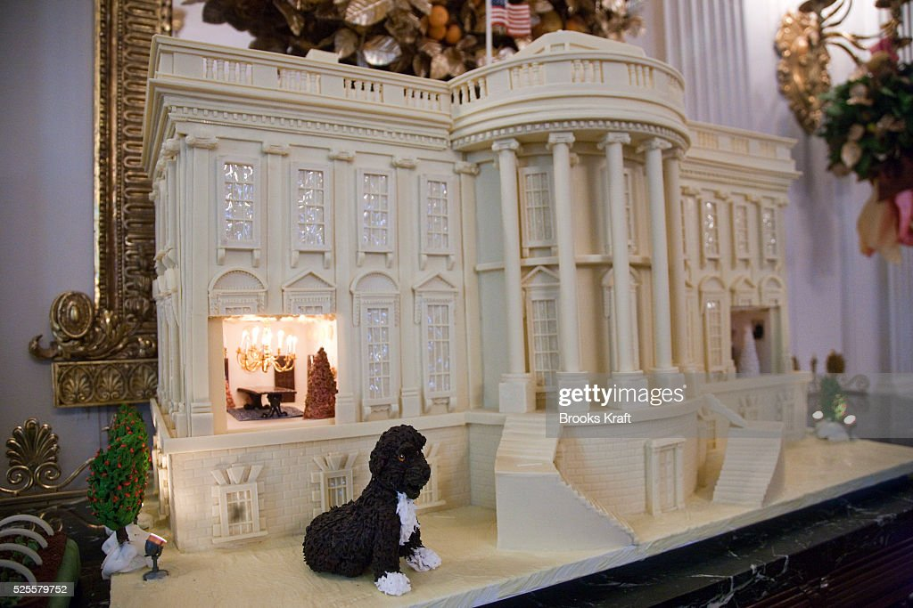The 2010 White Chocolate Gingerbread House Features Marzipan Replicas Of Obama Family Dog Bo
