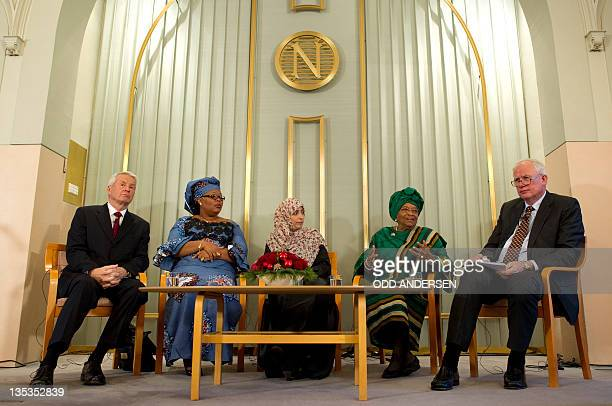 The 2011 Nobel Peace Prize laureates Liberian President Ellen Johnson Sirleaf Liberian activist Leymah Gbowee and human rights activist Tawakkol...