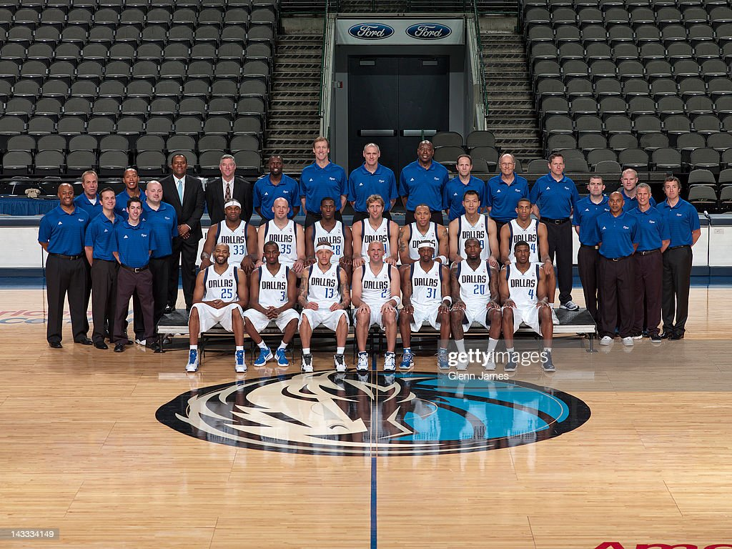 The 2011-2012 Dallas Mavericks pose for their annual team photo on April 23, 2012 at the American Airlines Center in Dallas, Texas.