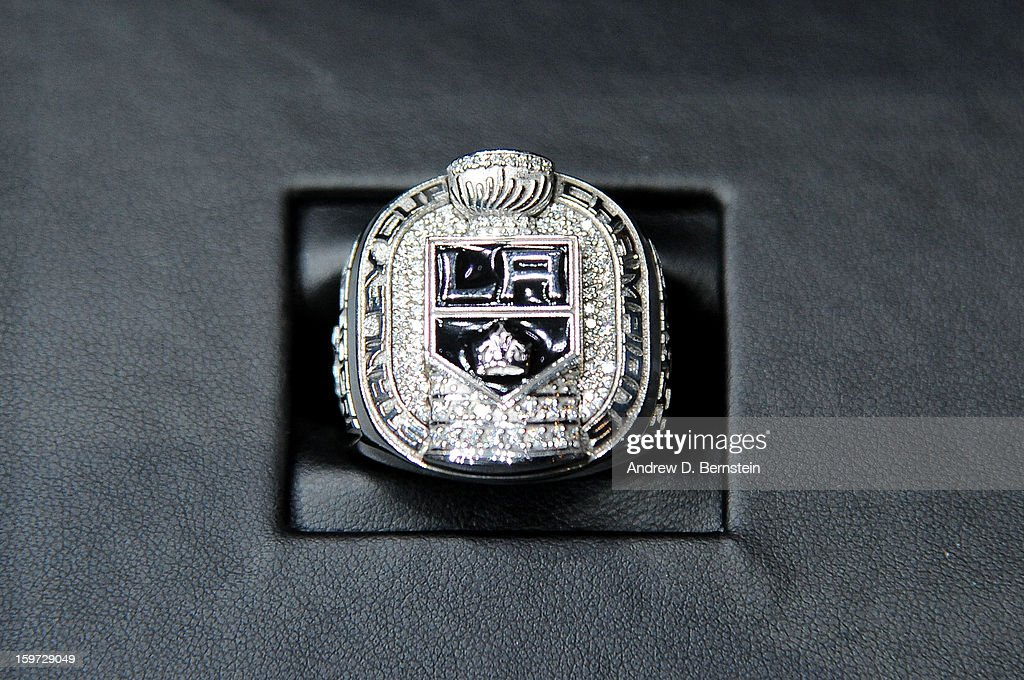 The 2011-2012 Los Angeles Kings Stanley Cup Championship Ring is displayed prior to the game against the Chicago Blackhawks at Staples Center on January 19, 2013 in Los Angeles, California.
