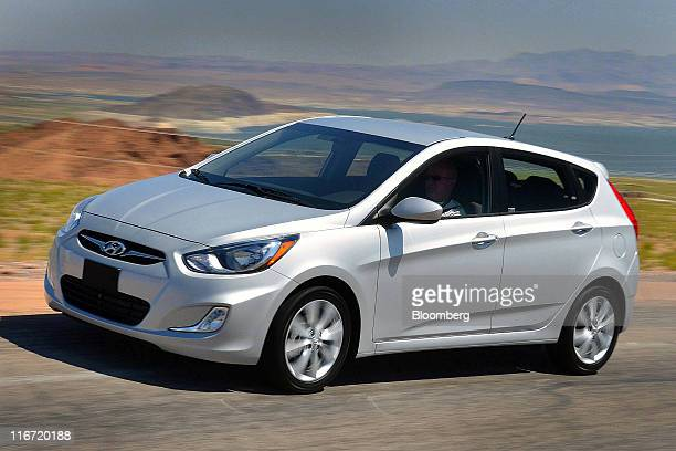 The 2012 Hyundai Motor Co Accent fivedoor hatchback is seen during a media test drive in Las Vegas Nevada US Thursday June 16 2011 Hyundai Motor Co...