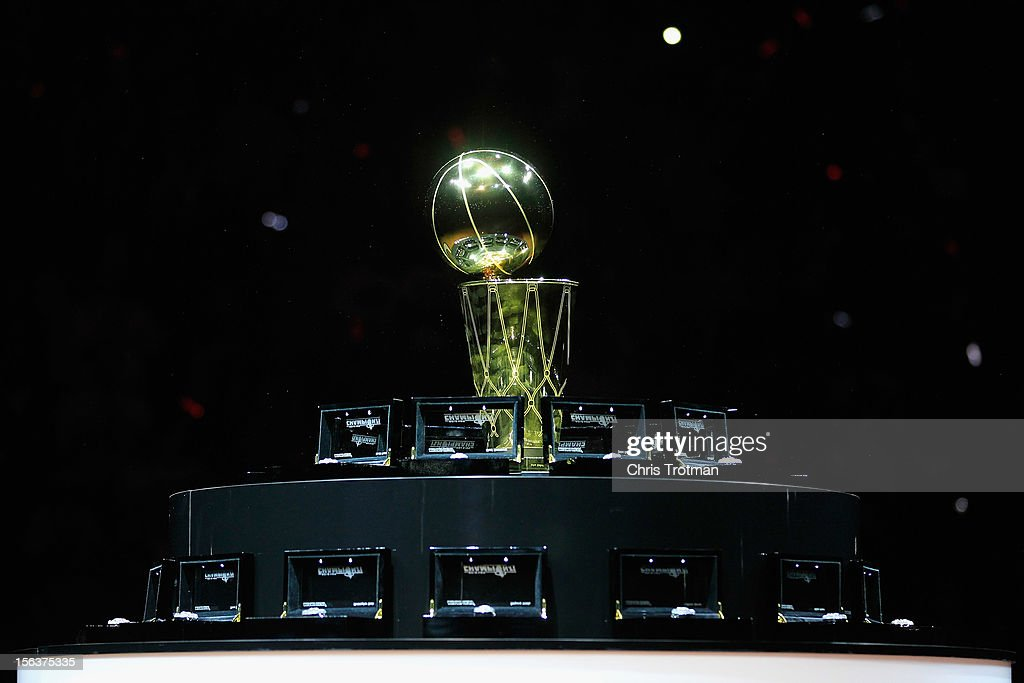 The 2012 NBA Championship trophy and 2012 Championship rings at a ceremony to be presented to the Miami Heat prior to the game against Boston Celtics at American Airlines Arena on October 30, 2012 in Miami, Florida.