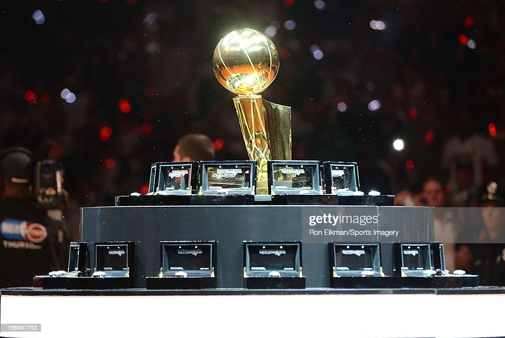 The 2012 NBA Championship trophy and 2012 Championship rings of the Miami Heat are shown on display at a ceremony prior to a game against Boston Celtics at American Airlines Arena on October 30, 2012 in Miami, FloridaNOTE