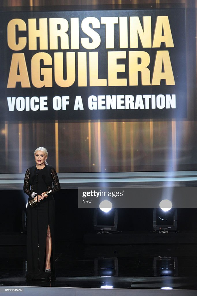 AWARDS -- The 2012 NCLR ALMA Awards 'Award Show' -- Pictured: <a gi-track='captionPersonalityLinkClicked' href=/galleries/search?phrase=Christina+Aguilera&family=editorial&specificpeople=171272 ng-click='$event.stopPropagation()'>Christina Aguilera</a>, Special Achievement Award during the 2012 NCLR ALMA Awards held at the Pasadena Civic Auditorium on September 16, 2012 --