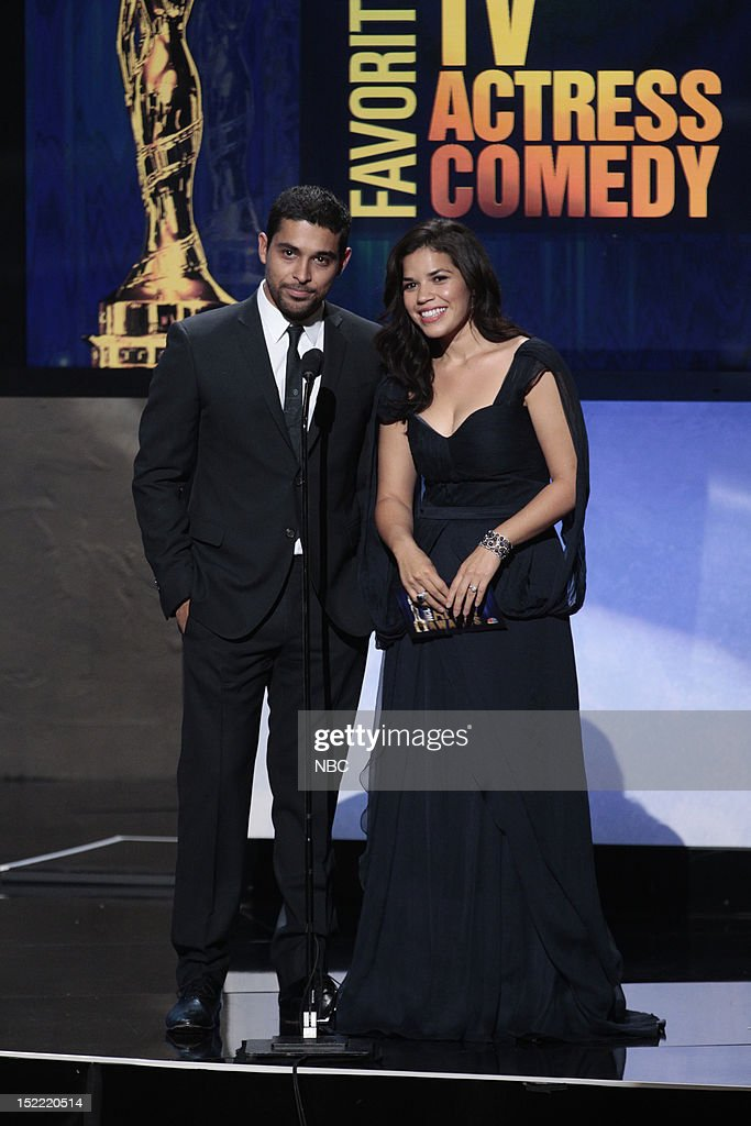AWARDS -- The 2012 NCLR ALMA Awards 'Award Show' -- Pictured: (l-r) <a gi-track='captionPersonalityLinkClicked' href=/galleries/search?phrase=Wilmer+Valderrama&family=editorial&specificpeople=202028 ng-click='$event.stopPropagation()'>Wilmer Valderrama</a> and <a gi-track='captionPersonalityLinkClicked' href=/galleries/search?phrase=America+Ferrera&family=editorial&specificpeople=216393 ng-click='$event.stopPropagation()'>America Ferrera</a> during the 2012 NCLR ALMA Awards held at the Pasadena Civic Auditorium on September 16, 2012 --