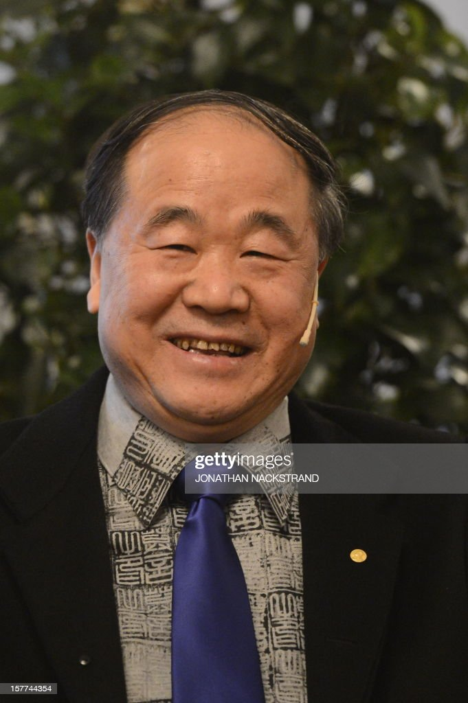 The 2012 Nobel Literature Prize laureate, <a gi-track='captionPersonalityLinkClicked' href=/galleries/search?phrase=Mo+Yan&family=editorial&specificpeople=3971964 ng-click='$event.stopPropagation()'>Mo Yan</a> of China reacts during a press conference of the 2012 Nobel Literature Prize laureate on December 6, 2012 in Stockholm. <a gi-track='captionPersonalityLinkClicked' href=/galleries/search?phrase=Mo+Yan&family=editorial&specificpeople=3971964 ng-click='$event.stopPropagation()'>Mo Yan</a> of China will receive the prize during an official Nobel Prize ceremony on December 10.