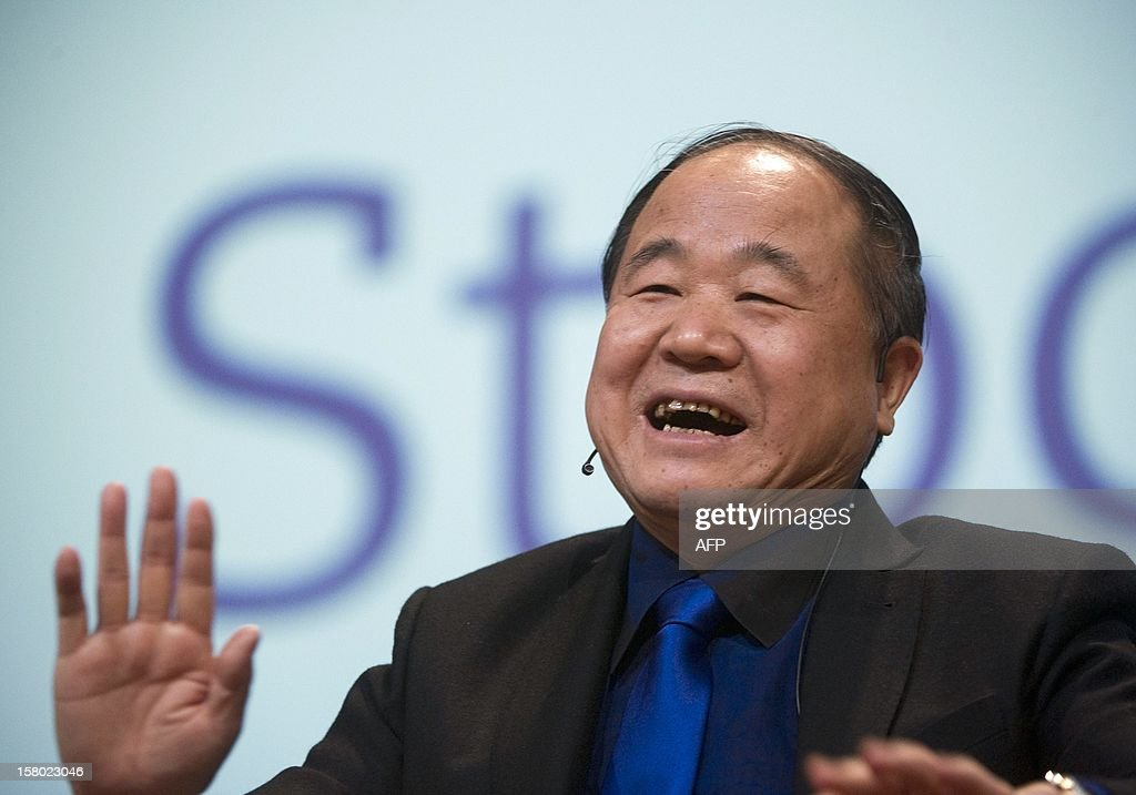 The 2012 Nobel Literature Prize winner <a gi-track='captionPersonalityLinkClicked' href=/galleries/search?phrase=Mo+Yan&family=editorial&specificpeople=3971964 ng-click='$event.stopPropagation()'>Mo Yan</a> of China answers questions during a public reading of his works at Aula Magna, at Stockholm University, on December 9, 2012. Mo will receive the prize during an official Nobel Prize ceremony on December 10.
