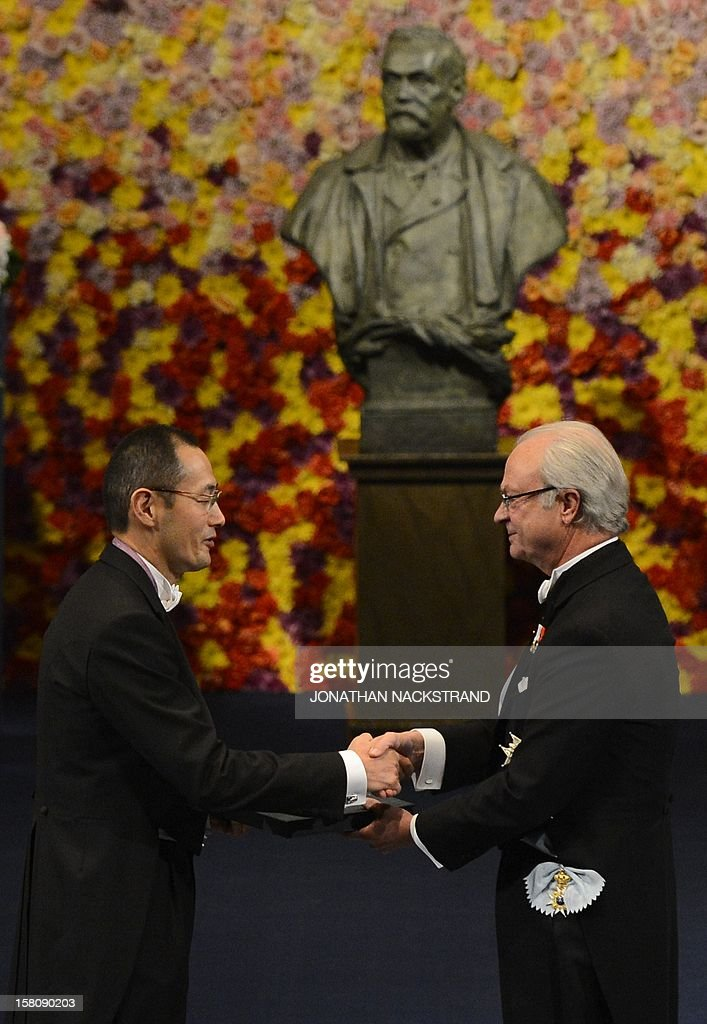 The 2012 Nobel Physiology or Medecine Prizewinner Shinya Yamanaka of Japan receives the Nobel Prize on December 10, 2012 in Stockholm, Sweden. The winners of the Nobel Prize 2012 in the categories of medicine, physics, chemistry, literature and economics receive their awards from the hands of Sweden's King Carl XVI Gustaf at a formal ceremony, followed by a gala banquet.
