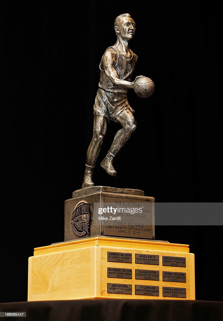 The 2013 Bob Cousy Award trophy, won by Michigan point guard Trey Burke, is displayed at Marriott Marquis on April 8, 2013 in Atlanta, Georgia.