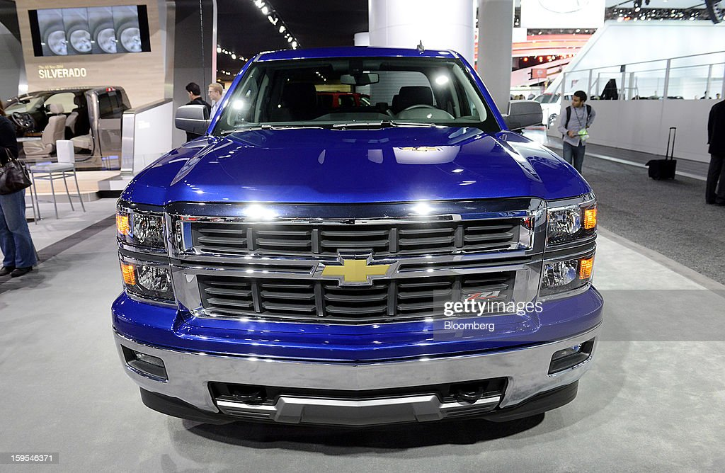 The 2014 Chevrolet Silverado truck is displayed during the 2013 North American International Auto Show (NAIAS) in Detroit, Michigan, U.S., on Tuesday, Jan. 15, 2013. The Detroit auto show runs through Jan. 27 and will display over 500 vehicles, representing the most innovative designs in the world. Photographer: David Paul Morris/Bloomberg via Getty Images