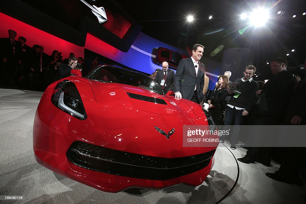 The 2014 Corvette Stingray is introduced by General Motors President Mark Reuss at the 2013 North American International Auto Show in Detroit, Michigan, January 14, 2013. AFP PHOTO/Geoff Robins