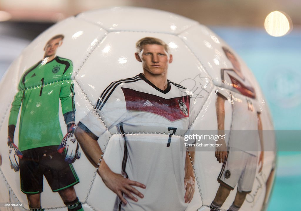 The 2014 DFB football bearing the image of <a gi-track='captionPersonalityLinkClicked' href=/galleries/search?phrase=Bastian+Schweinsteiger&family=editorial&specificpeople=203122 ng-click='$event.stopPropagation()'>Bastian Schweinsteiger</a> is pictured at the Nuremberg International Toy Fair (Nuernberger Spielwarenmesse) on January 29, 2014 in Nuremberg, Germany. The Nuremberg toy fair, which is the worldÕs biggest trade fair for toys, is open to the public from January 29 until February 3.