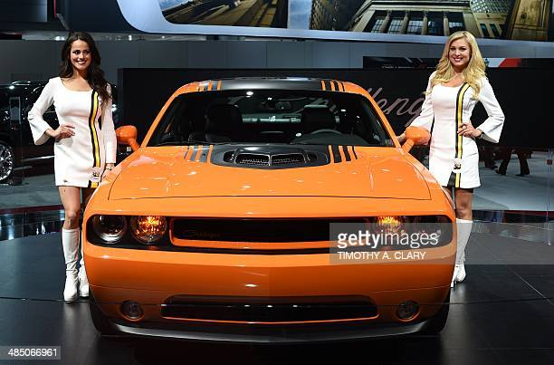 The 2014 Dodge Challenger on display during the first press preview day at the 2014 New York International Auto Show April16 2014 in New York at the...