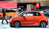 The 2014 Fiat 500e is displayed on November 21 2013 at the LA Auto Show in Los Angeles California which opens to the public from November 22 to...