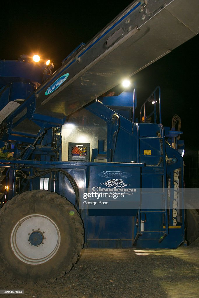 The 2014 grape harvest begins to wind down as a machine harvester with lights picks grapes in the early evening hours of September 15, 2014, in Healdsburg, California. Despite some of the warmest and driest weather in recorded history, a water 'State of Emergency' exists for all of California, though it is expected to have little effect on this year's harvest.