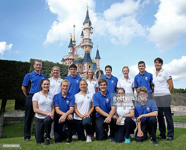 The 2014 Junior Ryder Cup team Front row L to R Annabel Dimmock of England Marcus Kinhult of Sweden Emily Pedersen of Denmark Bradley Neil of...