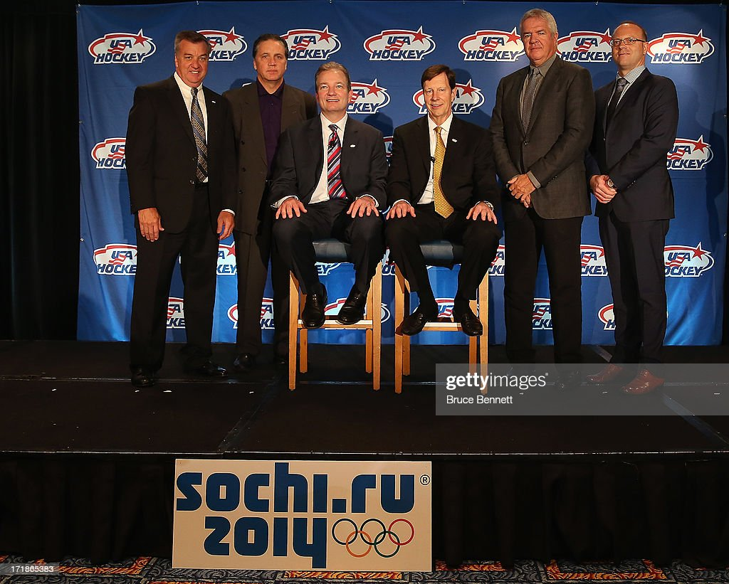 The 2014 Men's Olympic Hockey Team Executive committee is introduced to the media at the Marriott Marquis Hotel on June 29, 2013 in New York City.