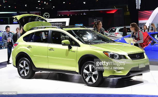 The 2014 Subaru XV Crosstrek Hybrid on display at the LA Auto Show's press and trade day in Los Angeles California on November 19 2014 Nearly 60...
