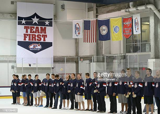 The 2014 USA Hockey Olympic Team candidates are introduced during a press conference at the Kettler Capitals Iceplex on August 27 2013 in Arlington...