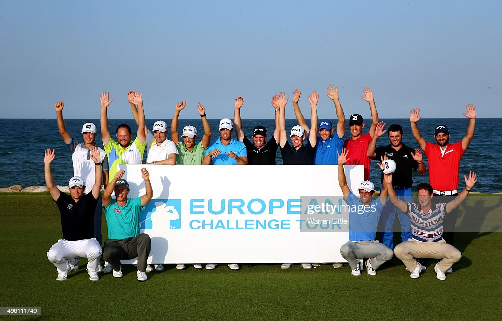 The 2015 Challenge Tour Graduates (Back row, L_R) Jens Fahrbring of Swden, Jamie McLeary of Scotland, <a gi-track='captionPersonalityLinkClicked' href=/galleries/search?phrase=Rhys+Davies&family=editorial&specificpeople=2286567 ng-click='$event.stopPropagation()'>Rhys Davies</a> of Wales, Borja Virto Astudillo of Spain, Nacho Elvira of Spain, Ricardo Gouveia of Portugal, Brandon Stone of South Africa, Joachim B. Hanesen of Denmark, Jeff Winther of Denmark, Andrew McArthur of Scotland, Thomas Linard of France, <a gi-track='captionPersonalityLinkClicked' href=/galleries/search?phrase=Gary+Boyd+-+Golfer&family=editorial&specificpeople=4686344 ng-click='$event.stopPropagation()'>Gary Boyd</a> of England, Callum Shinkwin of England, Sebastian Gros of France and <a gi-track='captionPersonalityLinkClicked' href=/galleries/search?phrase=Bjorn+Akesson&family=editorial&specificpeople=2243930 ng-click='$event.stopPropagation()'>Bjorn Akesson</a> of Sweden pose after the final round of the NBO Golf Classic Grand Final at the Almouj Golf Club, The Wave on November 7, 2015 in Muscat, Oman.