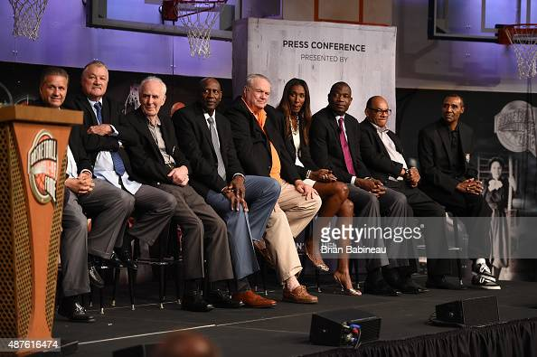 The 2015 Hall of Fame class sits on the podium during the Class of 2015 Press Event as part of the 2015 Basketball Hall of Fame Enshrinement Ceremony...