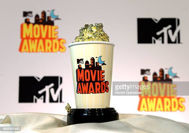 The 2015 MTV Movies Awards' Golden Popcorn trophy is displayed during MTV Movie Awards press junket April 9 in Los Angeles California