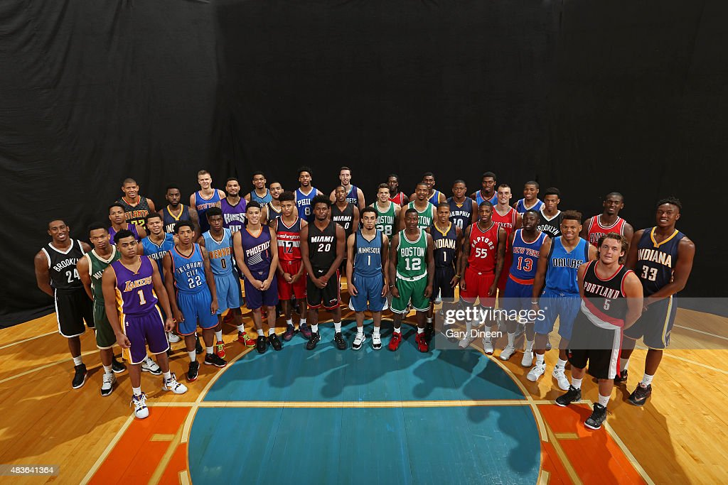 The 2015 NBA Rookie Class poses for a group portrait during the 2015 NBA rookie photo shoot on August 8, 2015 at the Madison Square Garden Training Facility in Tarrytown, New York.