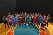The 2015 NBA Rookie Class poses for a group portrait during the 2015 NBA rookie photo shoot on August 8 2015 at the Madison Square Garden Training...