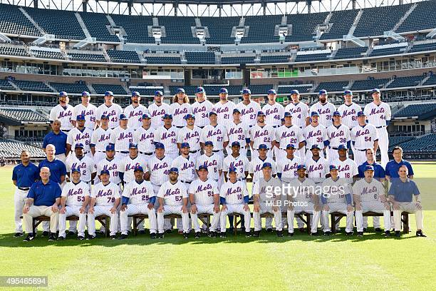 The 2015 New York Mets pose for their team photo in September 2015 at Citi Field in Flushing New York