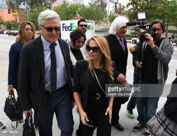 The 2015 Playboy Playmate of the Year Dani Mathers arrives at the Criminal Courts Building with her attorney Tom Mesereau for a pretrial hearing...